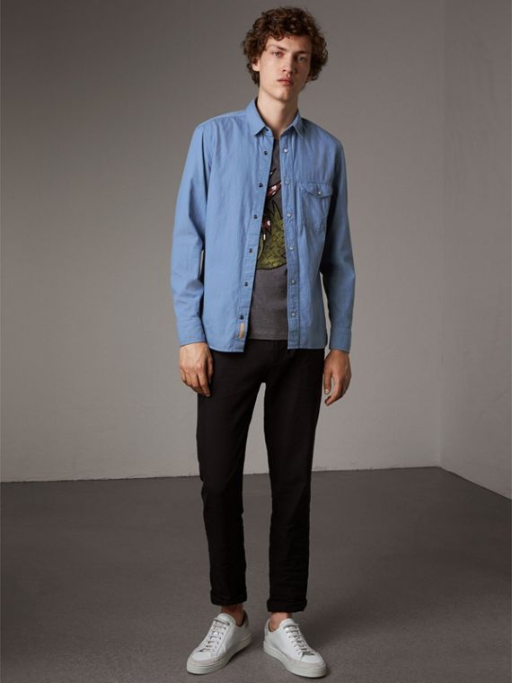 Japanese Denim Shirt in Light Blue