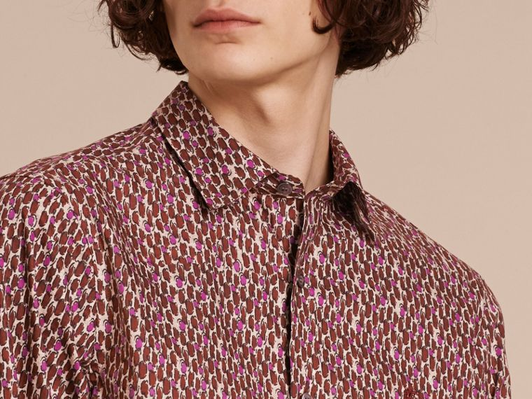 Painterly Dash Print Cotton Shirt Parade Red - cell image 4