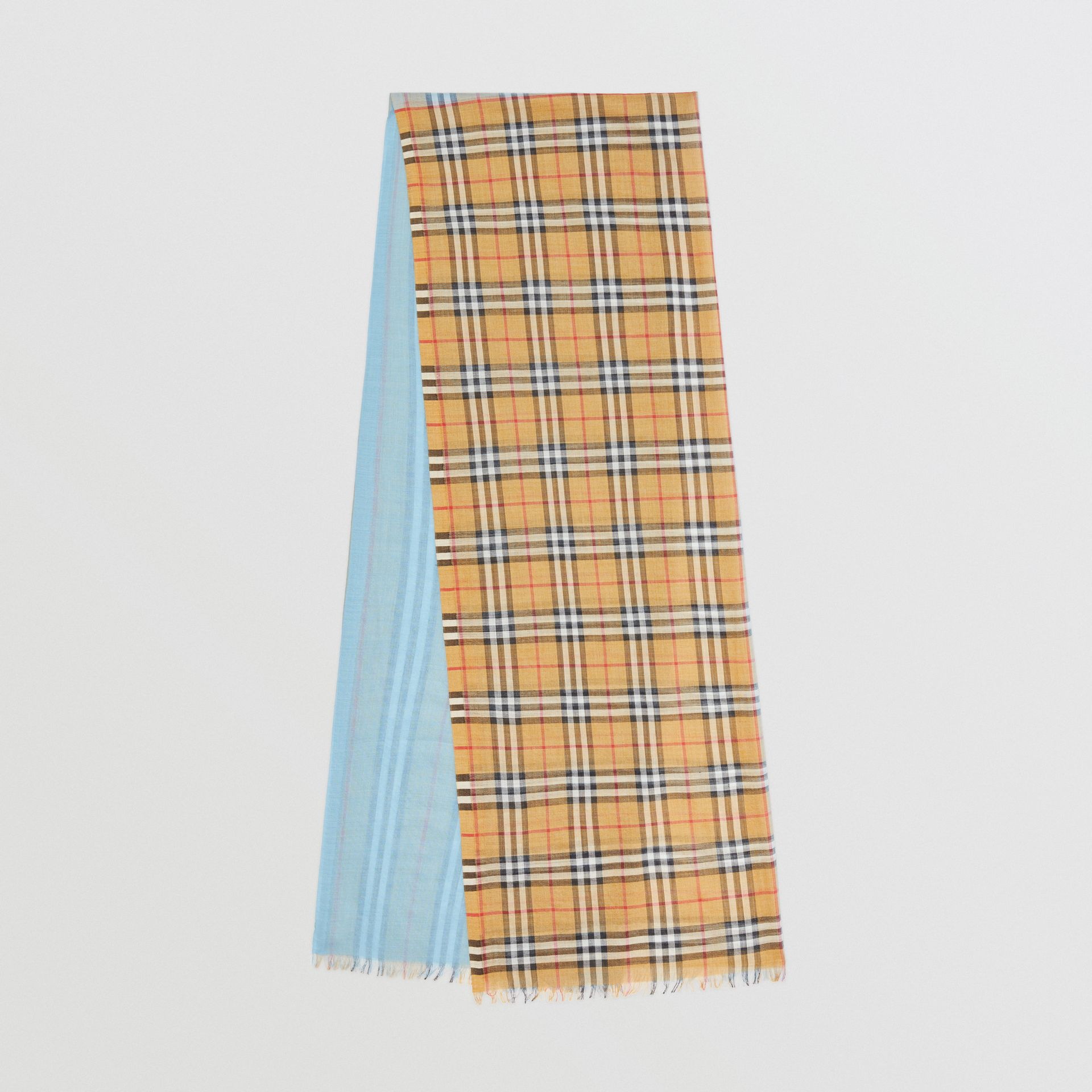 Vintage Check and Colour Block Wool Silk Scarf in Pale Blue Carbon | Burberry United Kingdom - gallery image 0