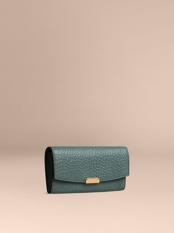 Signature Grain Leather Continental Wallet Celadon Blue