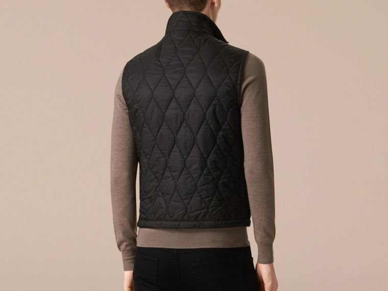 Black Multi-Pocket Diamond Quilted Gilet Black - cell image 1