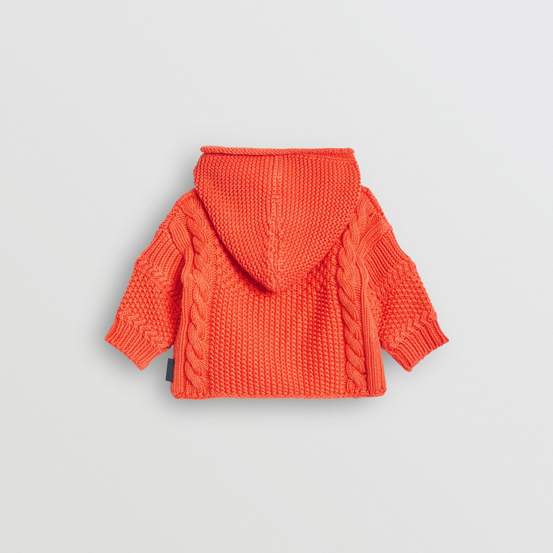 Contrast Knit Cotton Hooded Jacket in Orange Red - Children | Burberry - gallery image 3