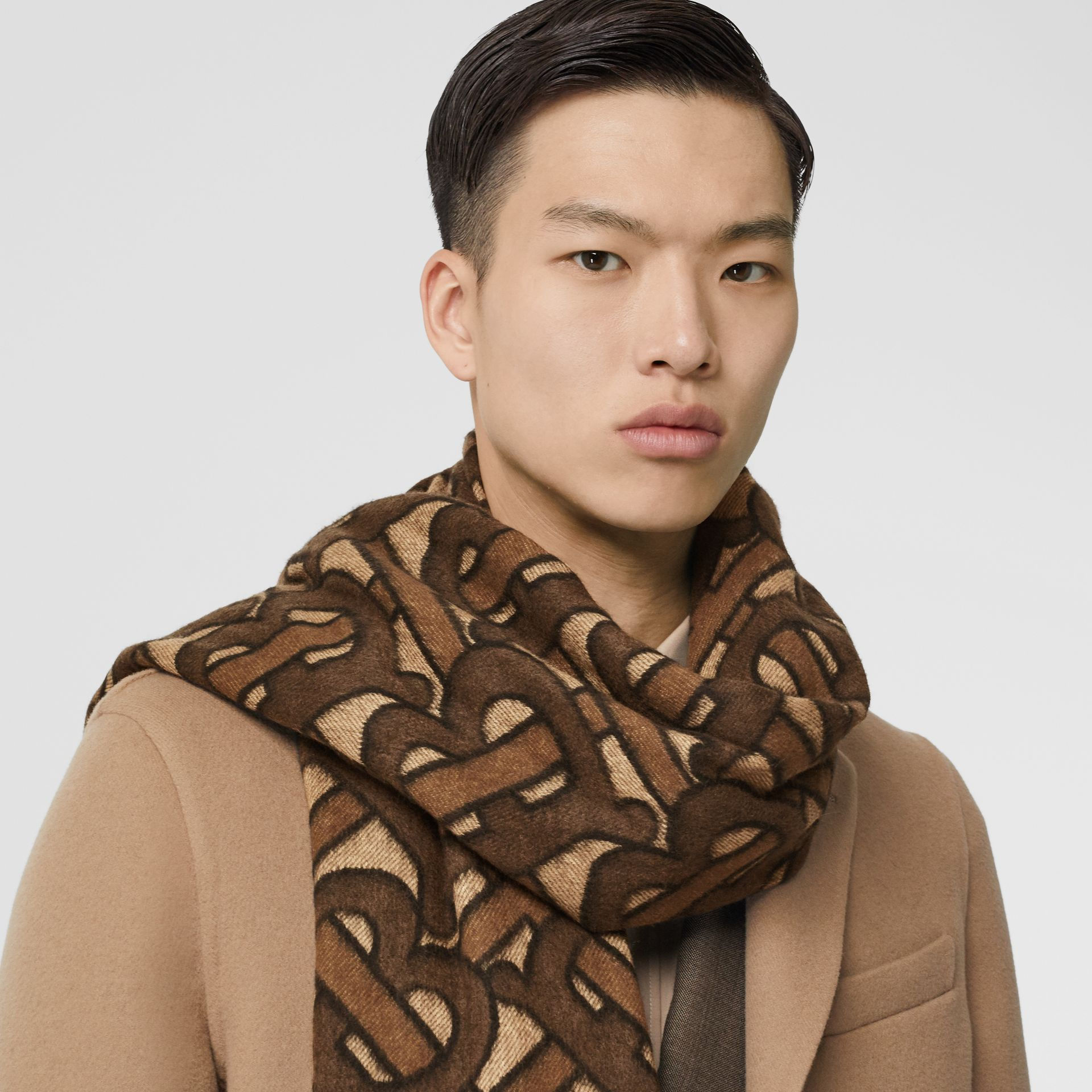 Monogram Cashmere Jacquard Scarf in Dark Mocha | Burberry - gallery image 3