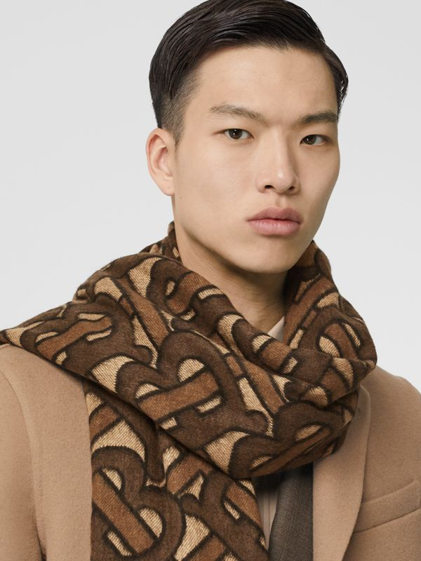 Monogram Cashmere Jacquard Scarf in Dark Mocha | Burberry - cell image 3