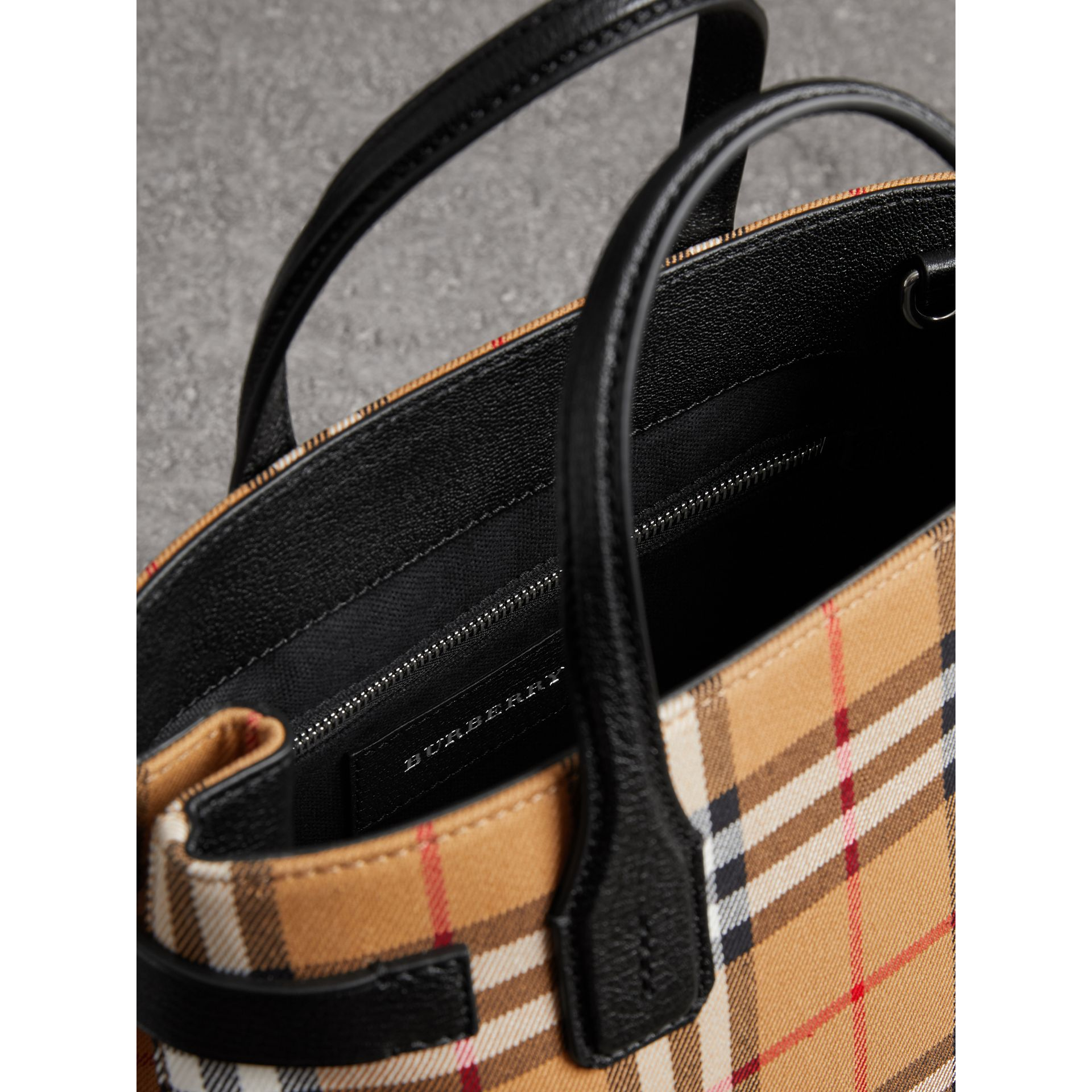 The Small Banner in Vintage Check and Leather in Black - Women | Burberry - gallery image 4