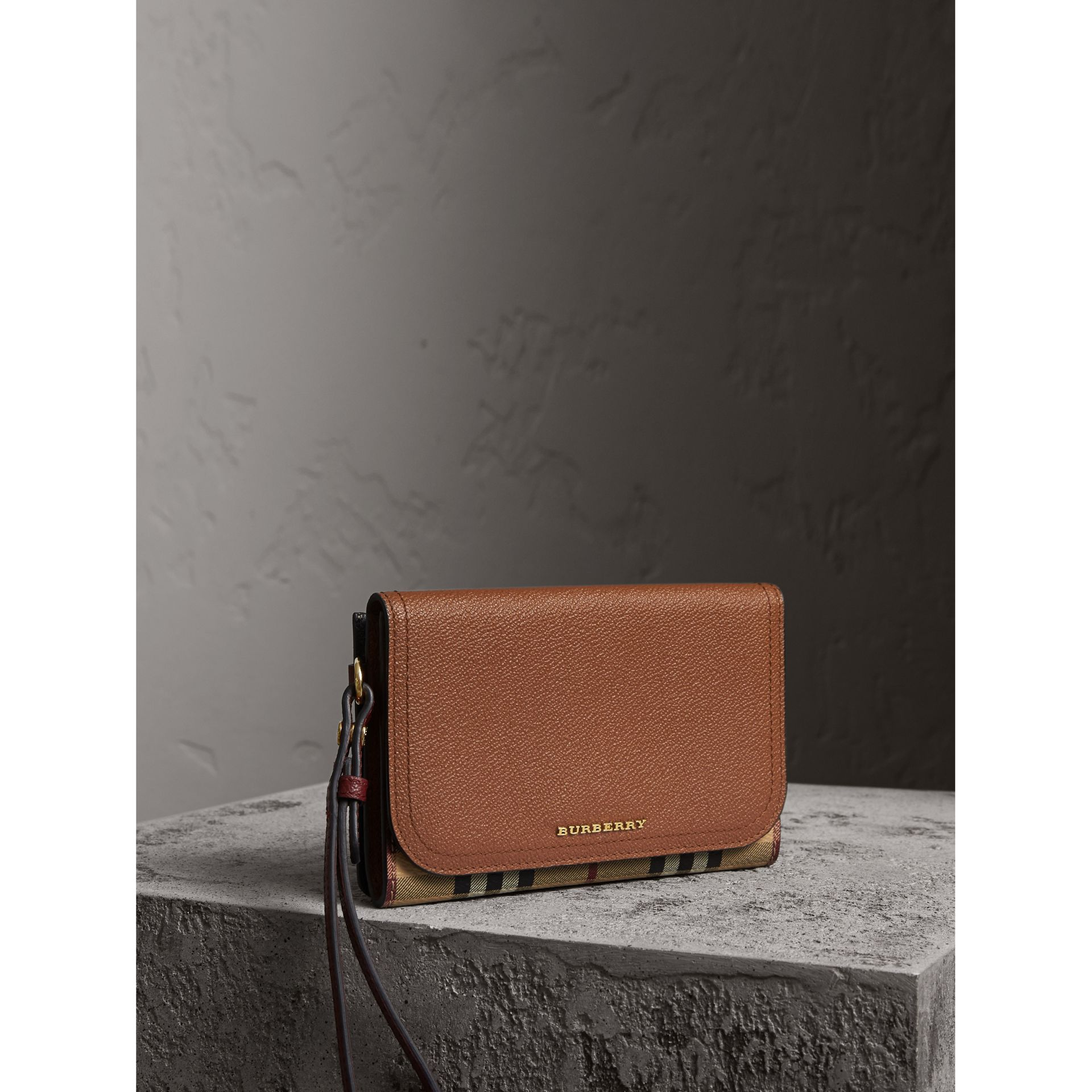 Leather and Haymarket Check Wristlet Wallet in Bright Toffee/multicolour - Women | Burberry - gallery image 0
