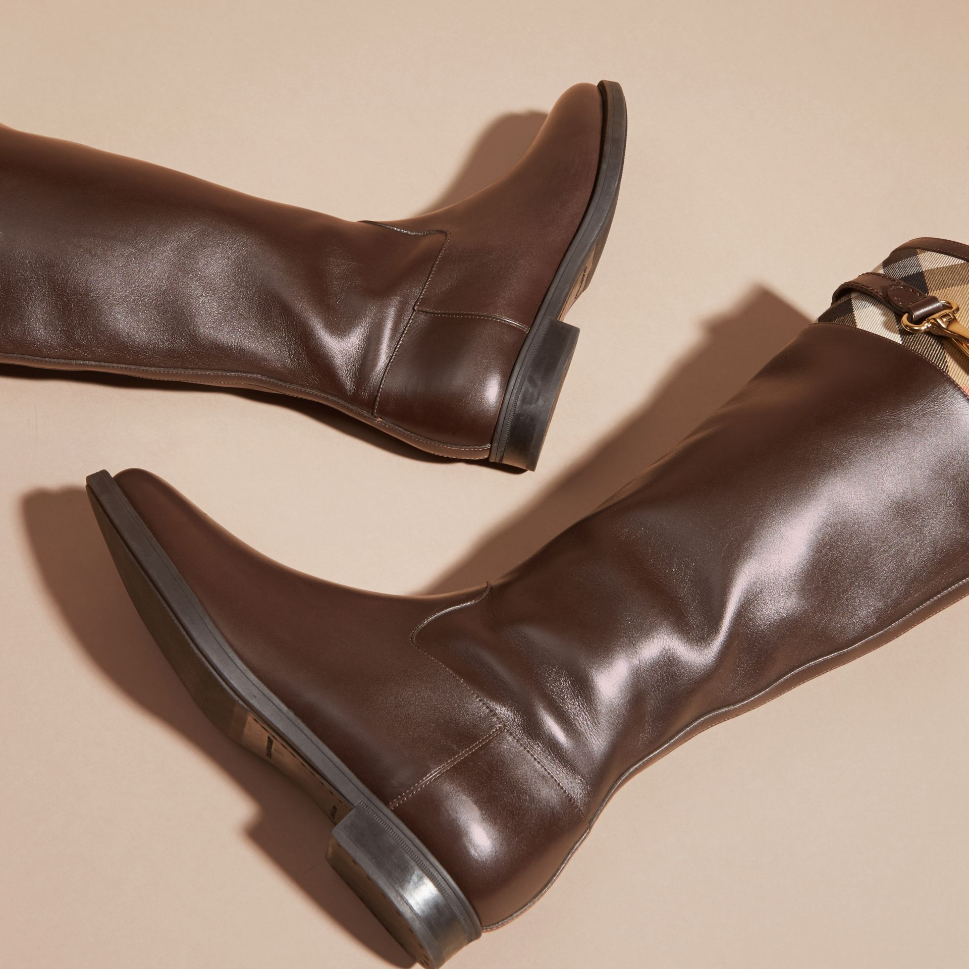Chestnut House Check Detail Leather Riding Boots - gallery image 4