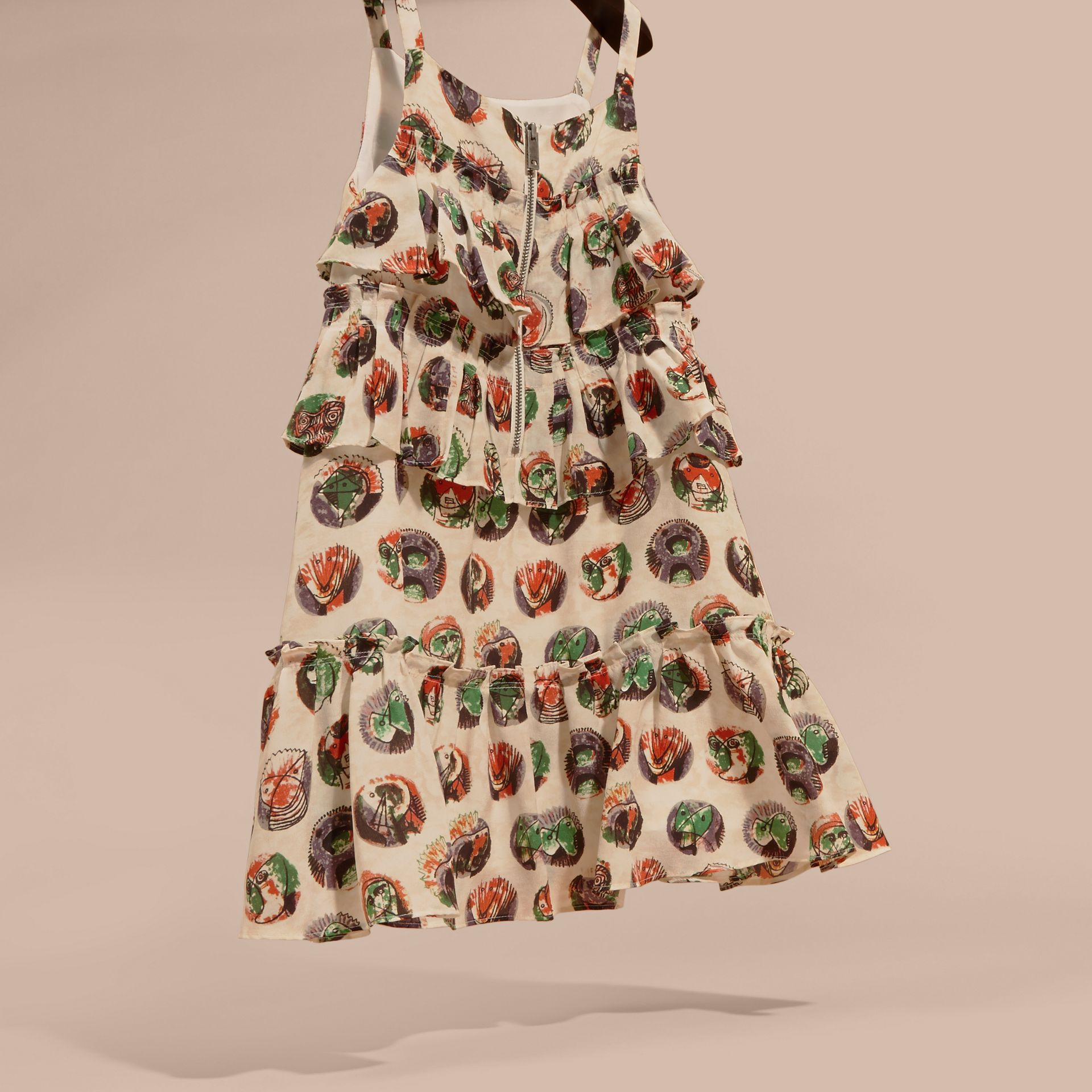 Pallas Heads Print Silk Dress with Ruffles - gallery image 4