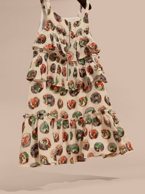 Pallas Heads Print Silk Dress with Ruffles in Natural White | Burberry - cell image 3