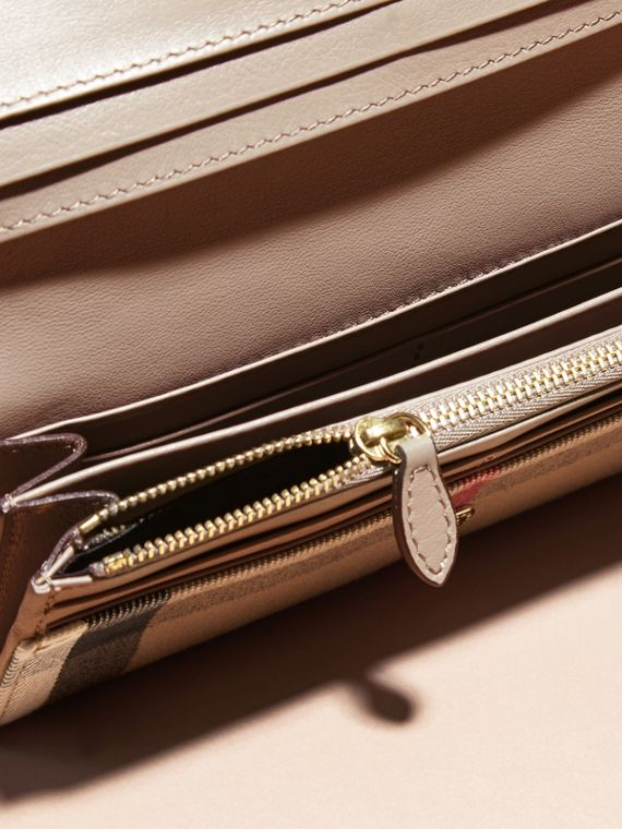 House Check And Leather Continental Wallet in Pale Orchid - Women | Burberry - cell image 3