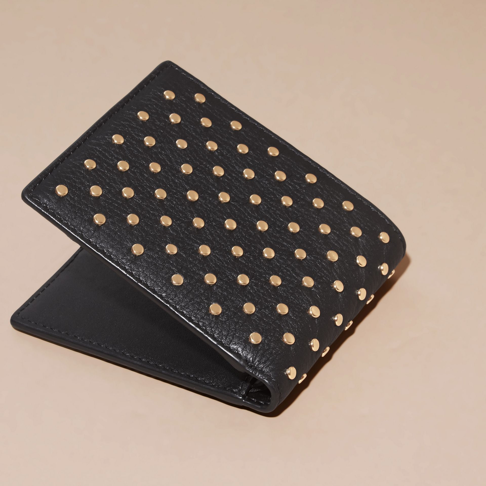 Black Studded Leather Folding Wallet - gallery image 4