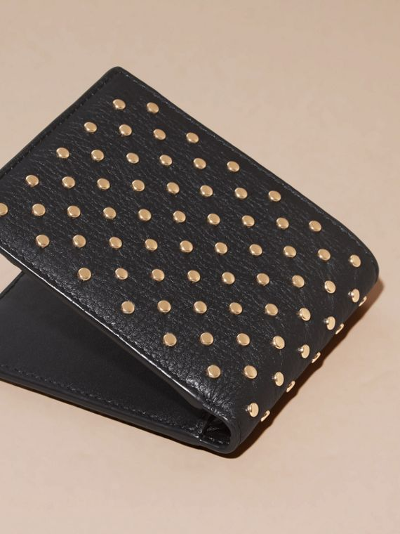 Black Studded Leather Folding Wallet - cell image 3