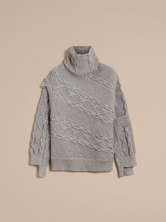 Cable and Rib Knit Collage Cotton Blend Sweater in Pale Grey Melange - Men | Burberry - cell image 3