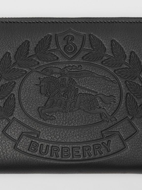 Embossed Crest Leather Ziparound Wallet in Black - Men | Burberry - cell image 1