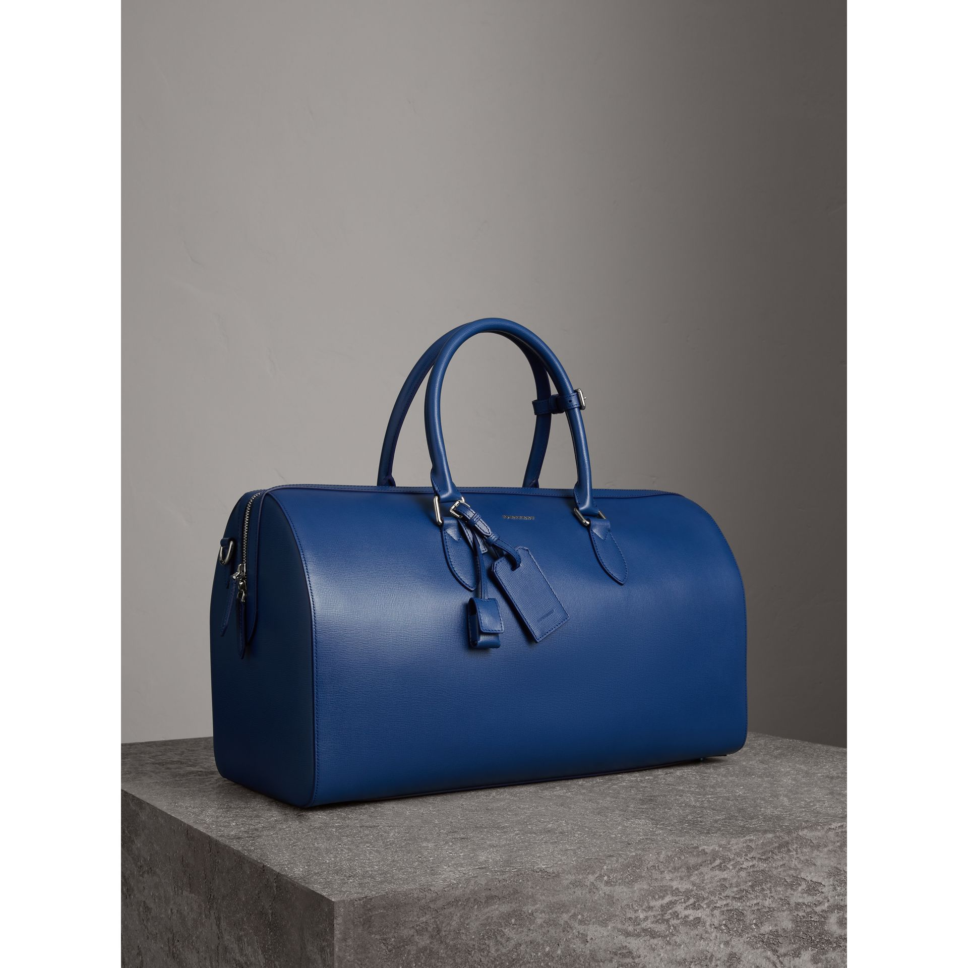 London Leather Holdall in Deep Blue - Men | Burberry - gallery image 7