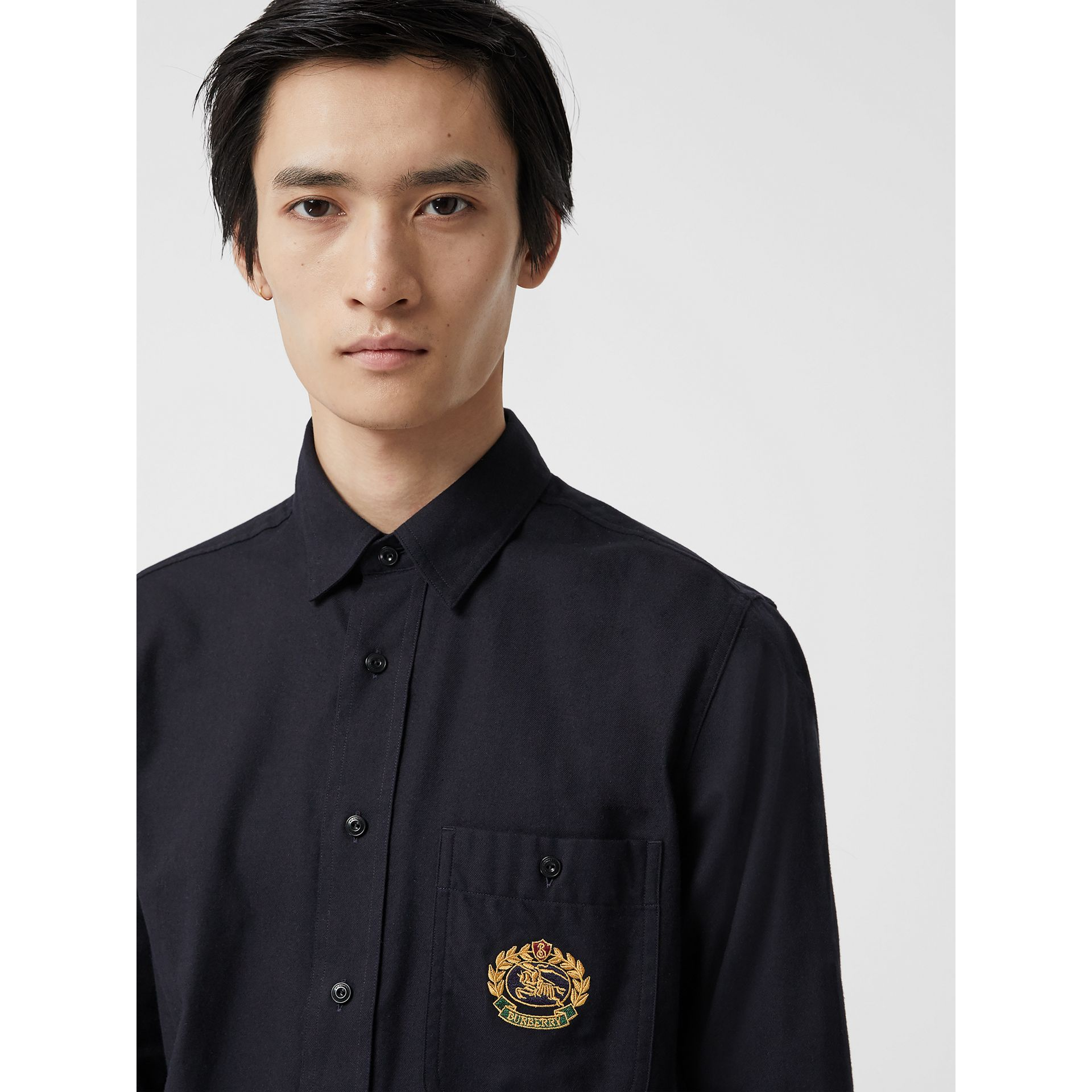 Embroidered Crest Flannel Shirt in Dark Navy - Men | Burberry Singapore - gallery image 1