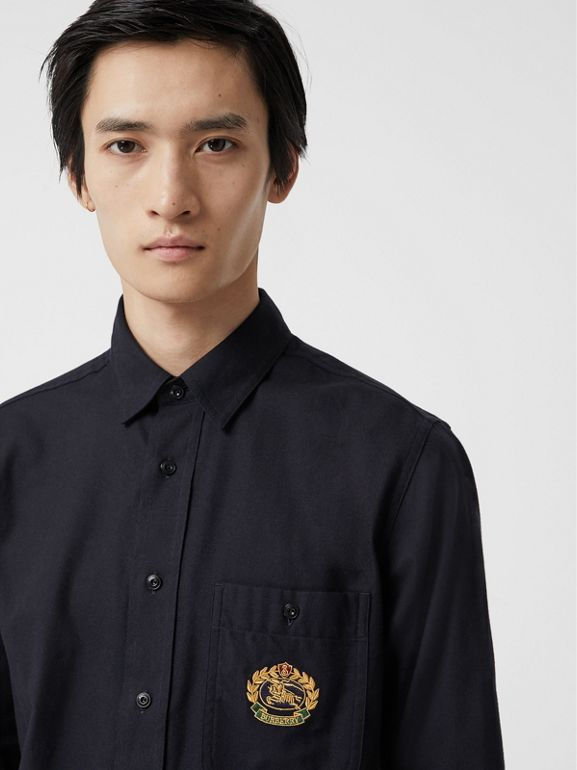 Embroidered Crest Flannel Shirt in Dark Navy - Men | Burberry Singapore - cell image 1