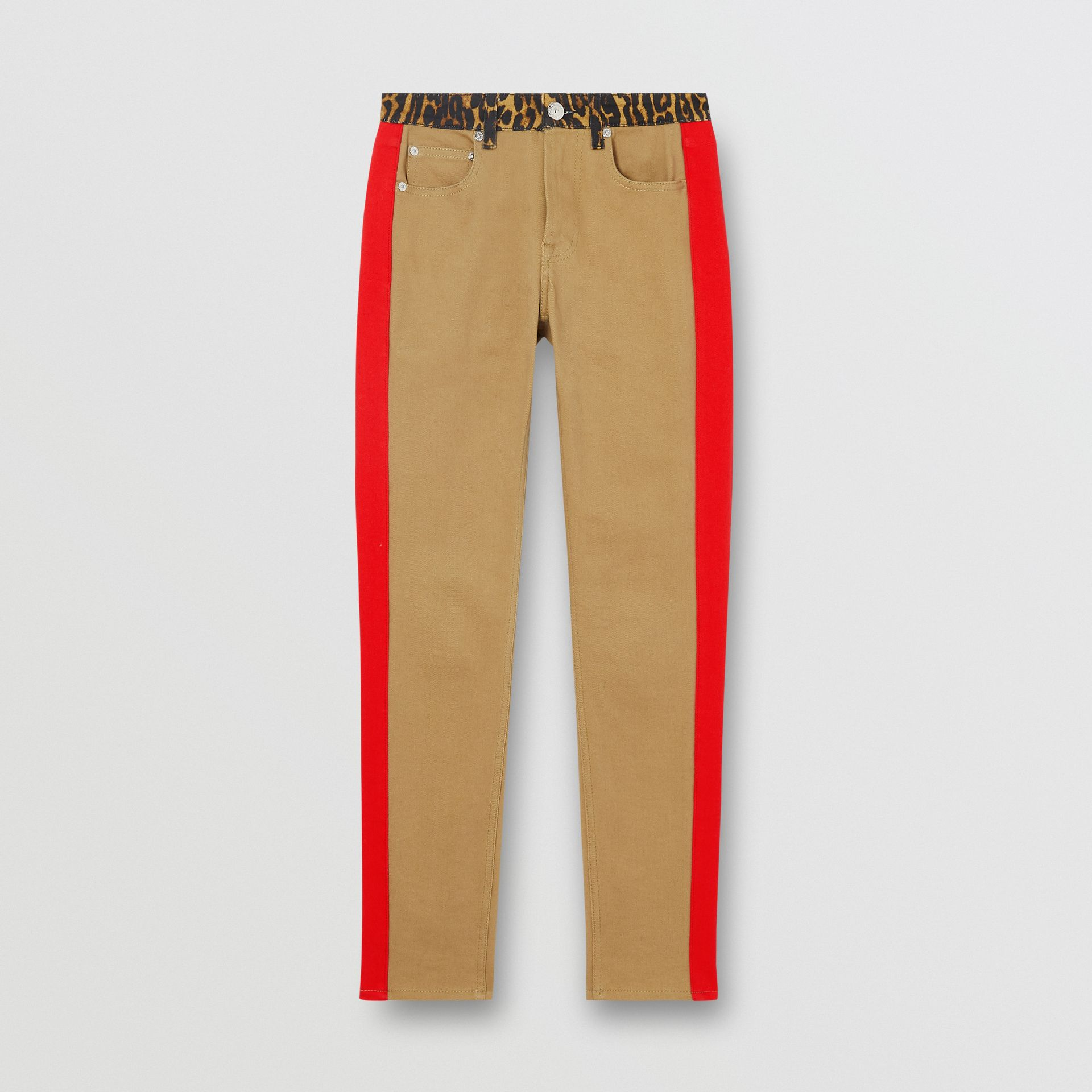 Skinny Fit Leopard Print Trim Japanese Denim Jeans in Rich Olive - Women | Burberry - gallery image 3