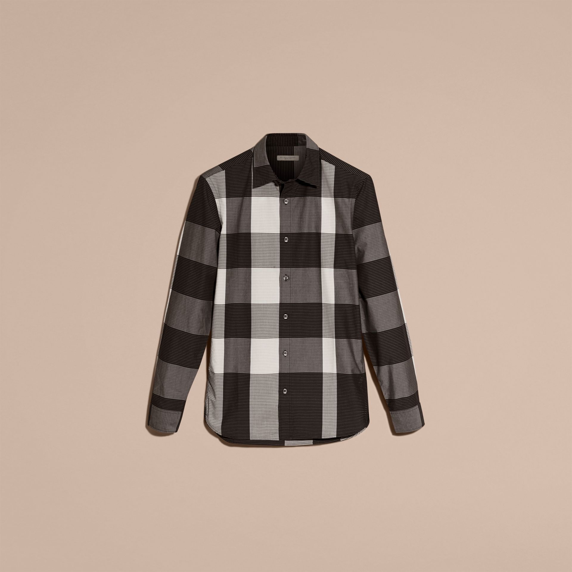 Black Graphic Check Cotton Shirt Black - gallery image 4