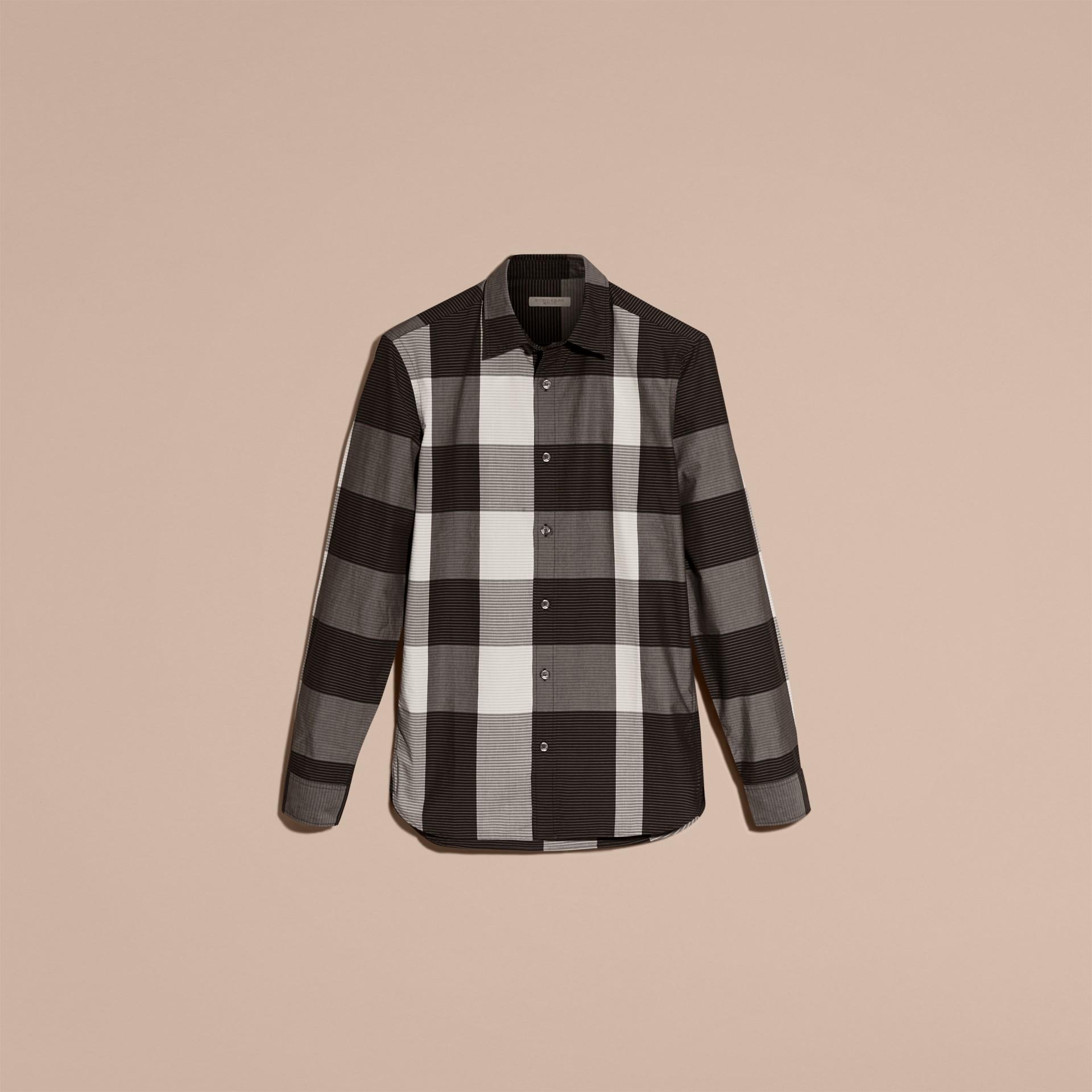 Schwarz Baumwollhemd mit grafischem Check-Muster Schwarz - Galerie-Bild 4