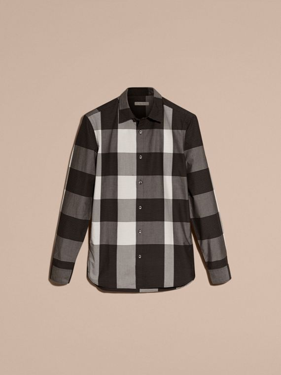 Black Graphic Check Cotton Shirt Black - cell image 3