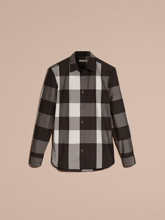 Schwarz Baumwollhemd mit grafischem Check-Muster Schwarz - cell image 3