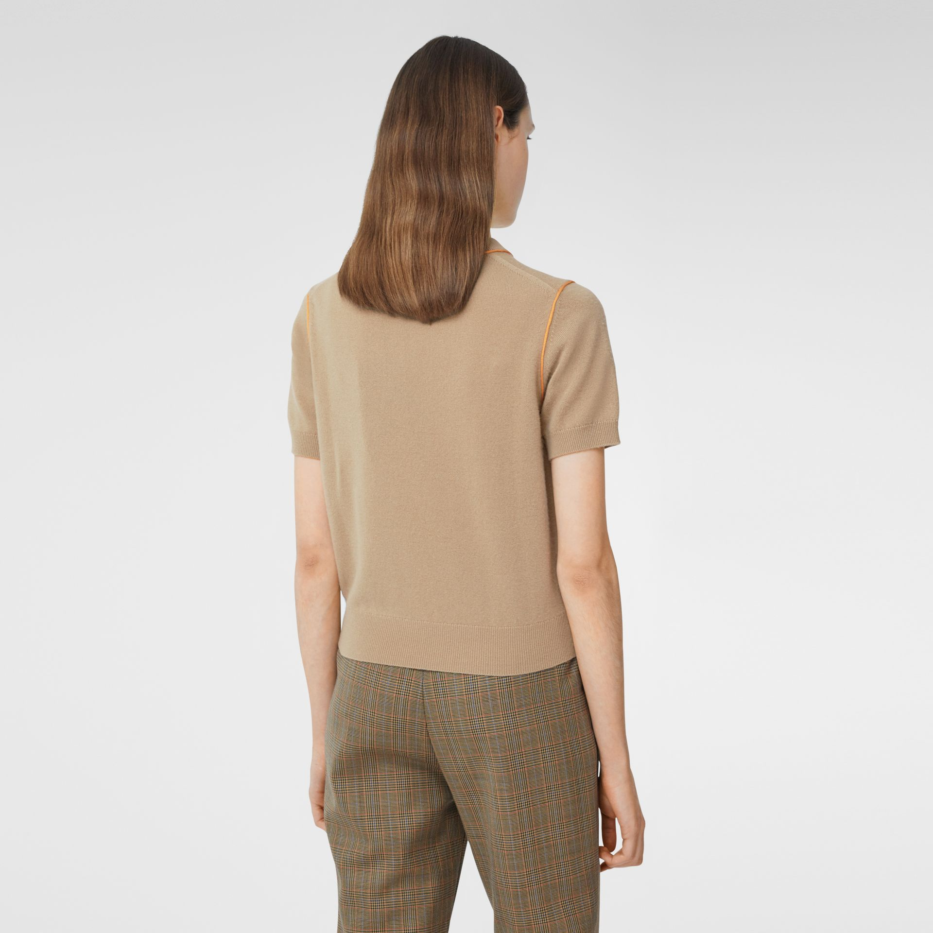 Silk Trim Monogram Motif Cashmere Top in Archive Beige - Women | Burberry - gallery image 2