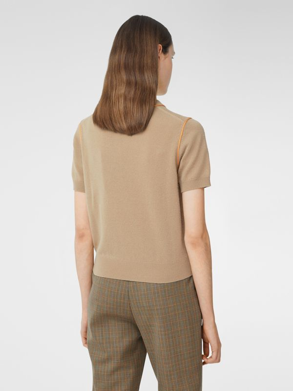 Silk Trim Monogram Motif Cashmere Top in Archive Beige - Women | Burberry - cell image 2