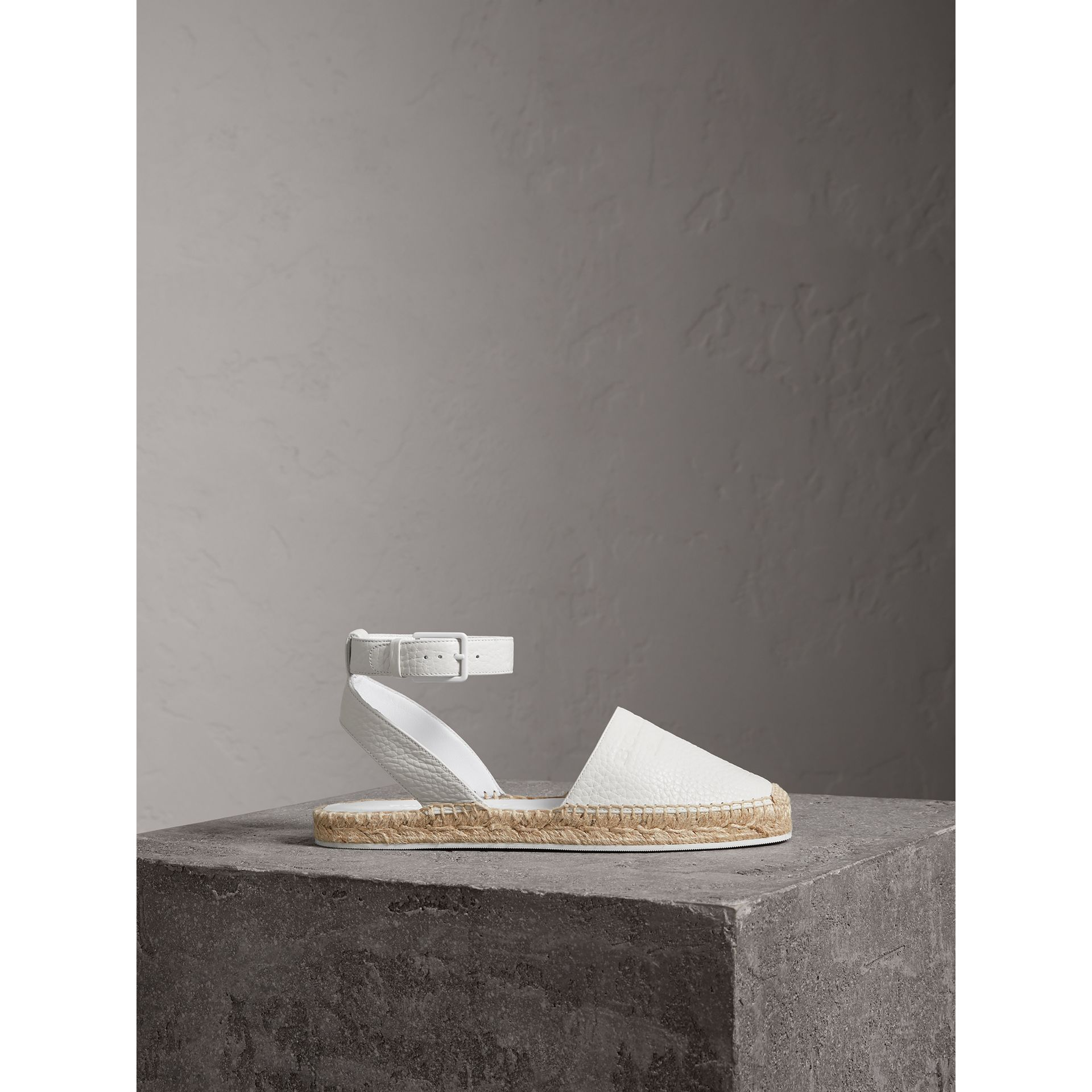 Embossed Grainy Leather Espadrille Sandals in Optic White - Women | Burberry United Kingdom - gallery image 4