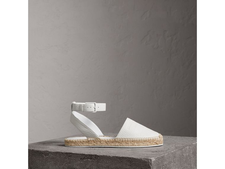 Embossed Grainy Leather Espadrille Sandals in Optic White - Women | Burberry United Kingdom - cell image 4