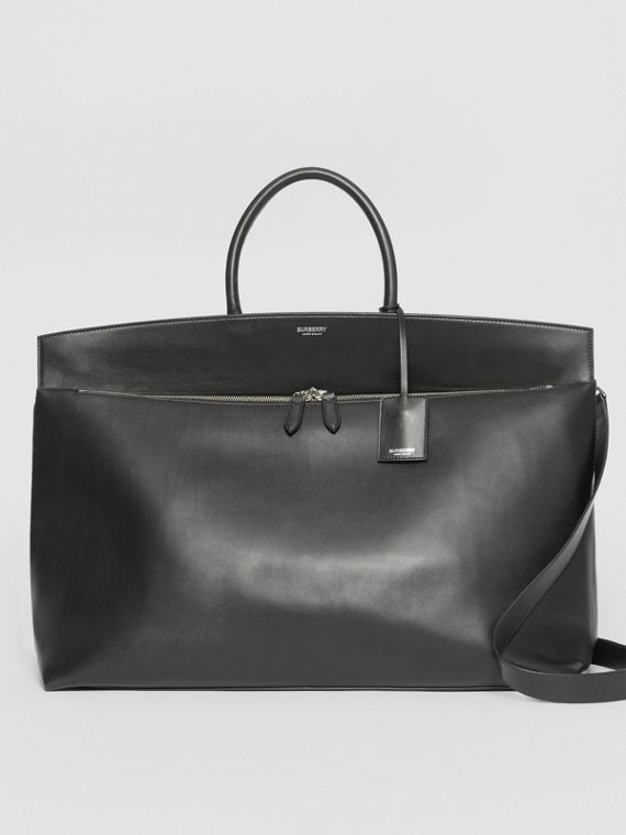 Borsa Society extra large in pelle (Nero)