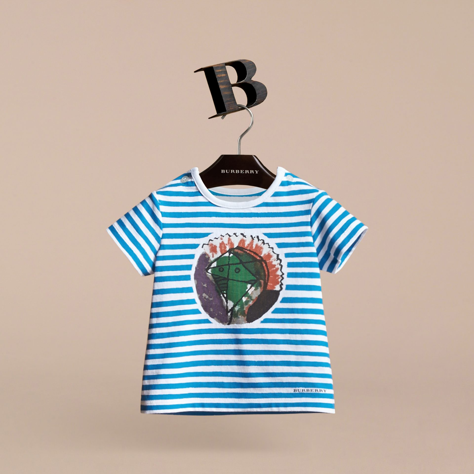 Pallas Heads Print Striped Cotton T-shirt in White | Burberry - gallery image 3