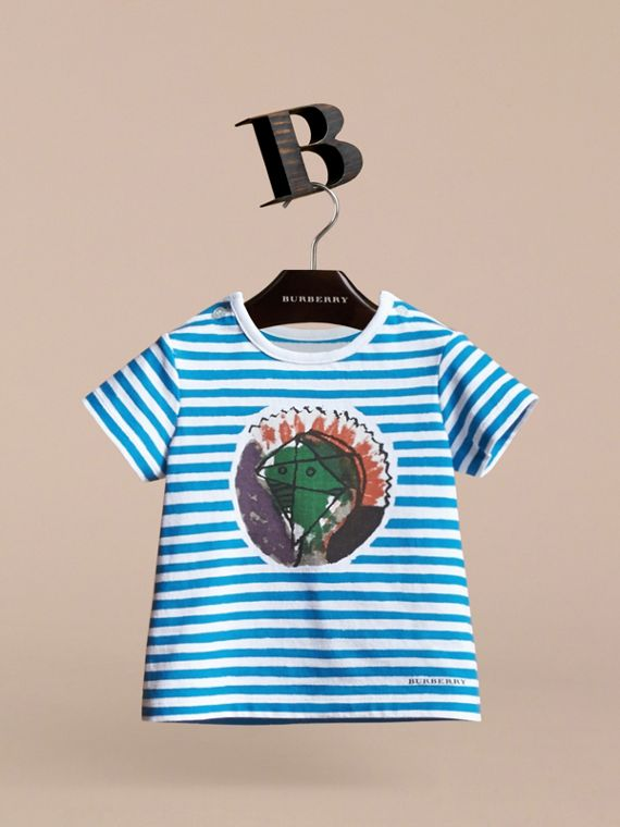 Pallas Heads Print Striped Cotton T-shirt in White | Burberry - cell image 2