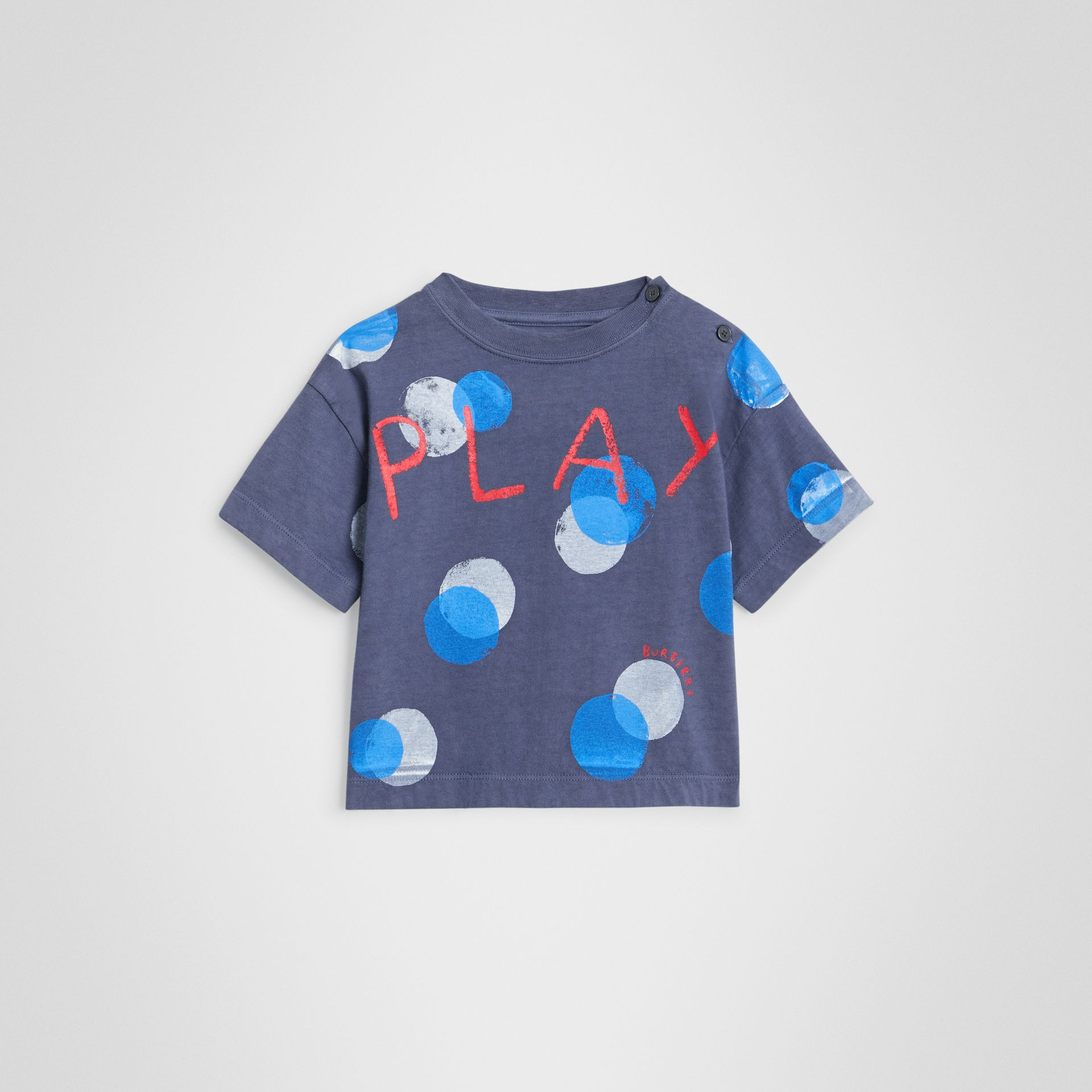 Oversized Spot Print Cotton T-shirt in Navy Melange - Children | Burberry United Kingdom - gallery image 0