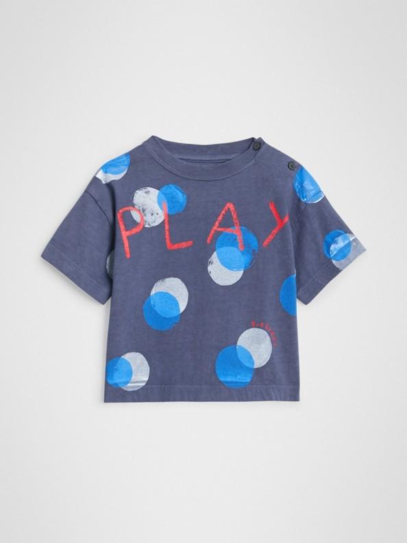 Camiseta de algodão com estampa de poás oversize (Azul Marinho Mesclado)
