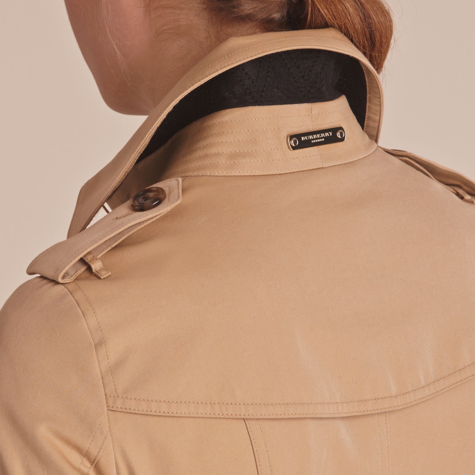 Leather Trim Cotton Gabardine Trench Coat Honey - gallery image 7