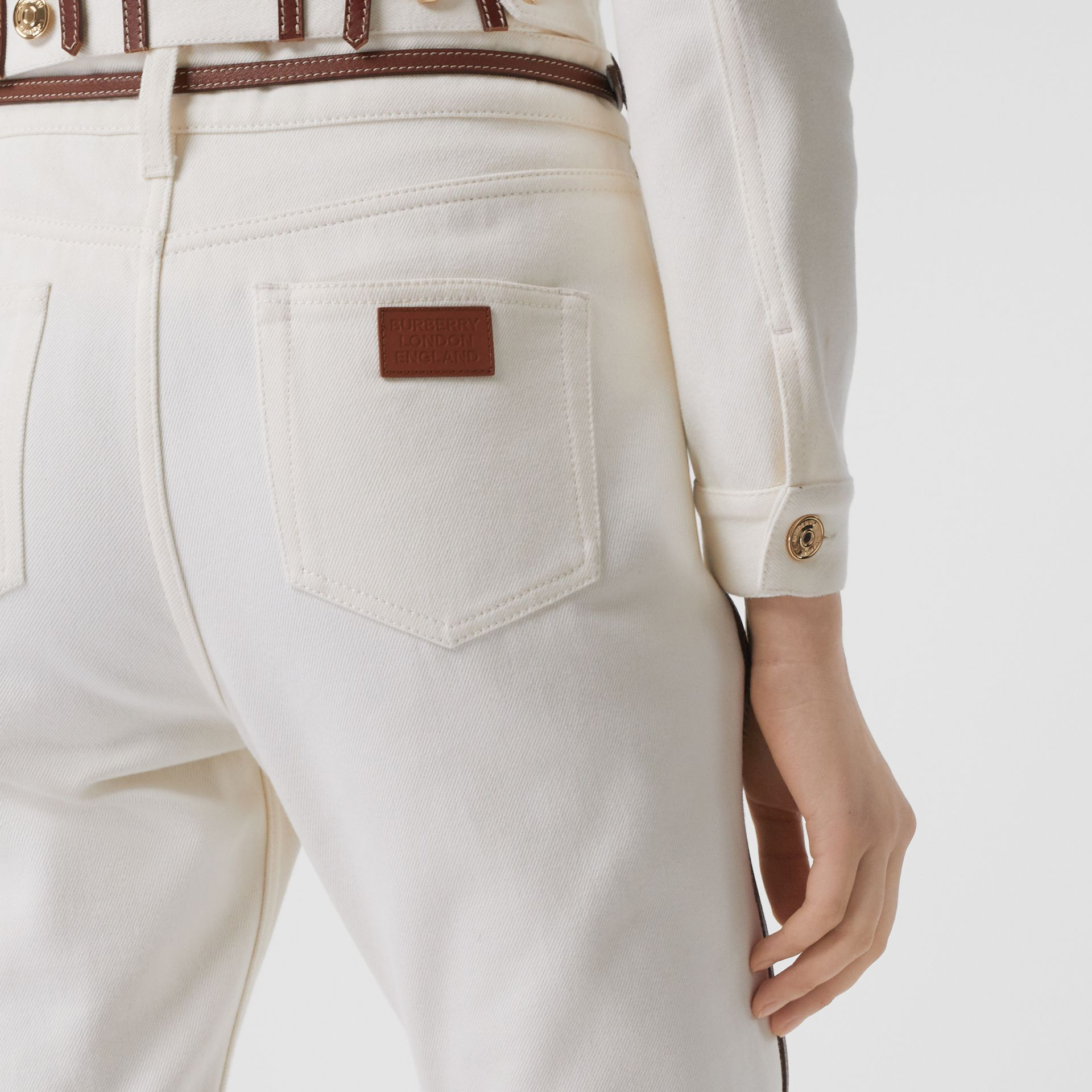 Straight Fit Leather Harness Detail Jeans in Off White - Women | Burberry - gallery image 3