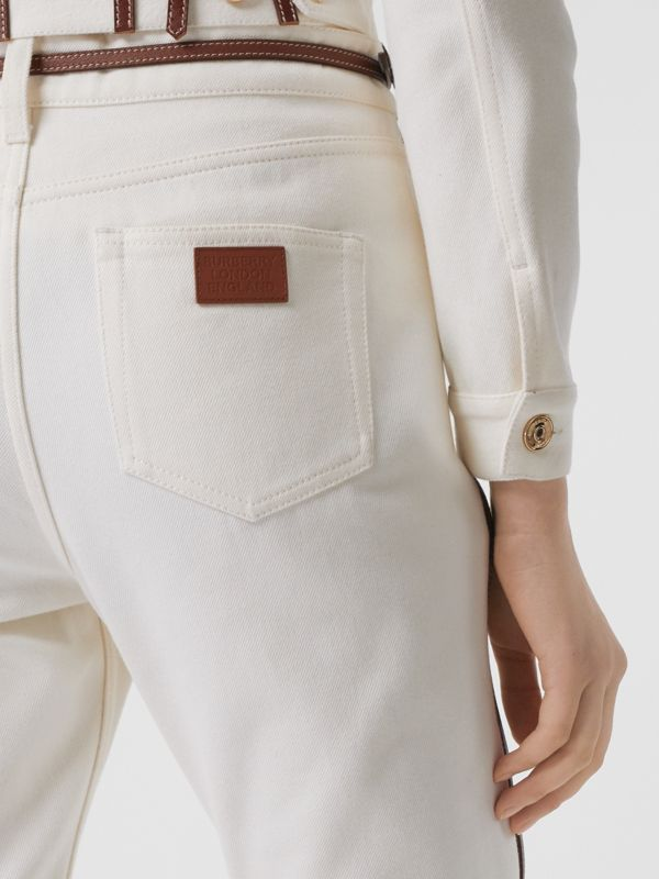 Straight Fit Leather Harness Detail Jeans in Off White - Women | Burberry - cell image 3