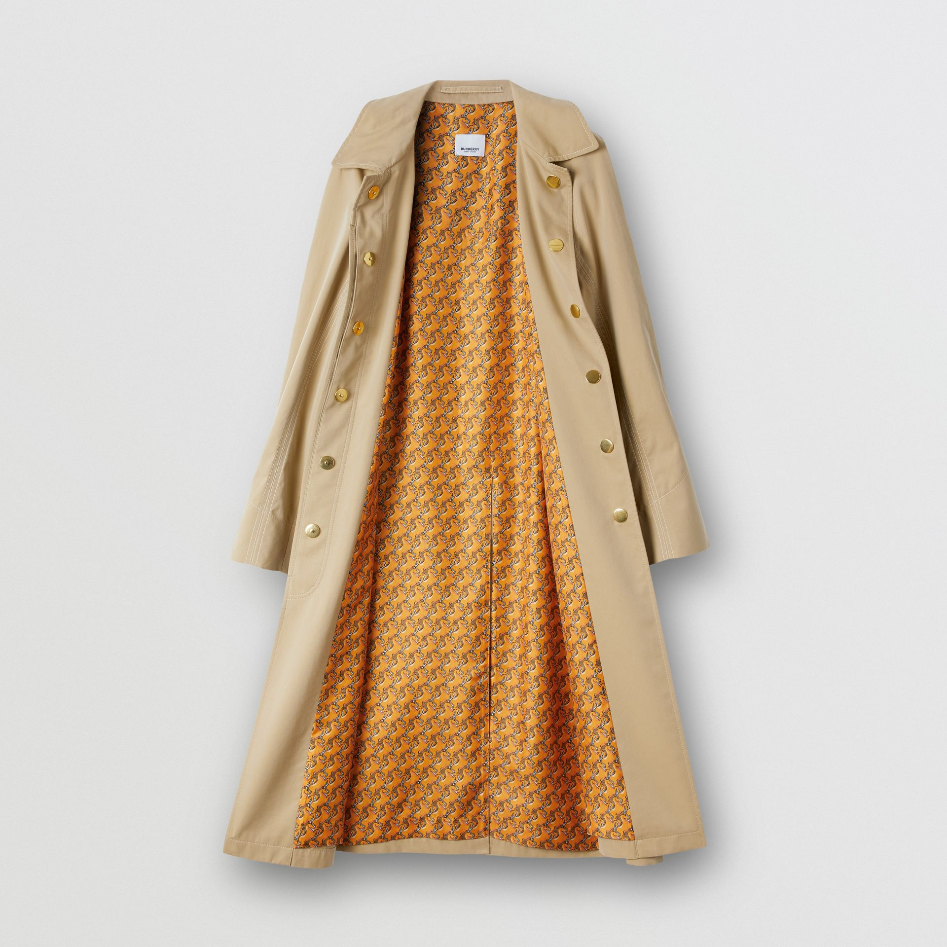 Tropical Gabardine Belted Car Coat in Honey | Burberry - gallery image 7