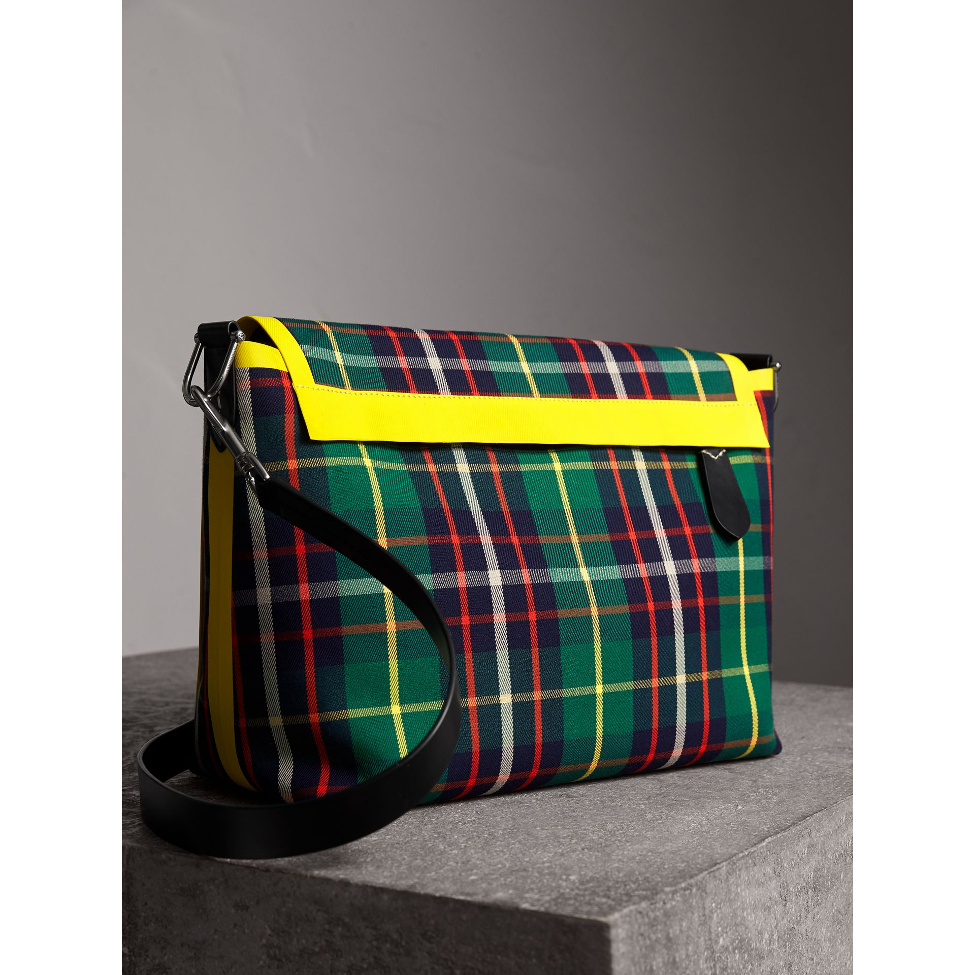 Large Tartan Cotton Messenger Bag in Forest Green | Burberry - gallery image 3
