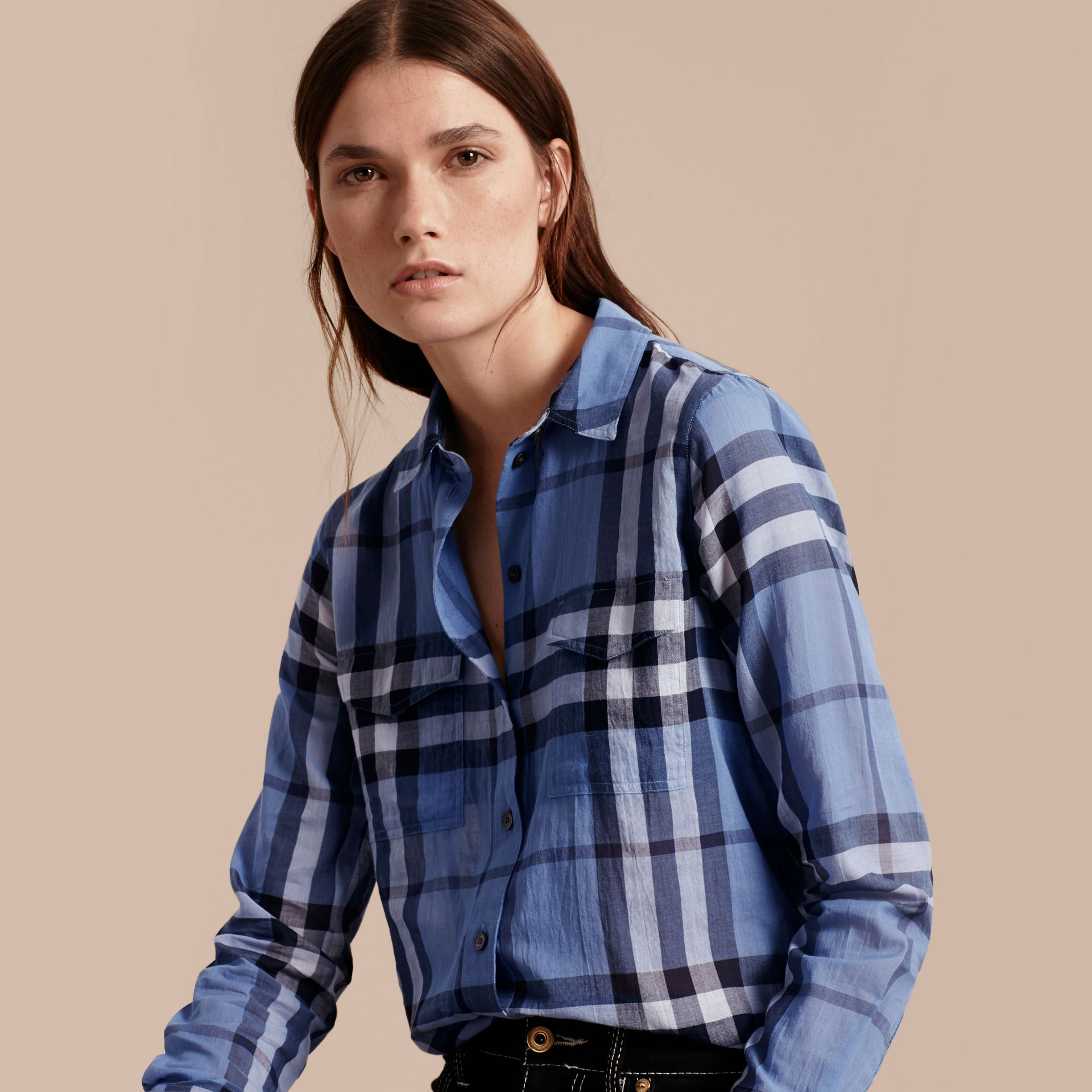 Hydrangea blue Check Cotton Shirt Hydrangea Blue - gallery image 6
