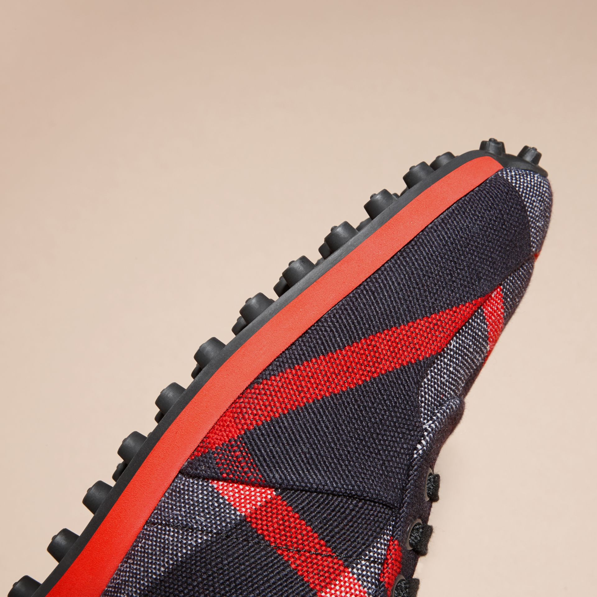 Navy/militay red Textural Trim Canvas Check Sneakers Navy/militay Red - gallery image 5