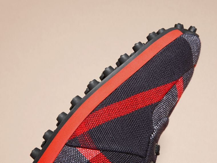 Navy/militay red Textural Trim Canvas Check Sneakers Navy/militay Red - cell image 4