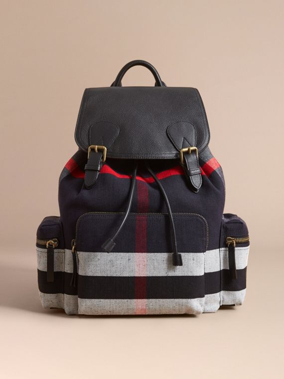 The Large Rucksack in Canvas Check and Leather in Black