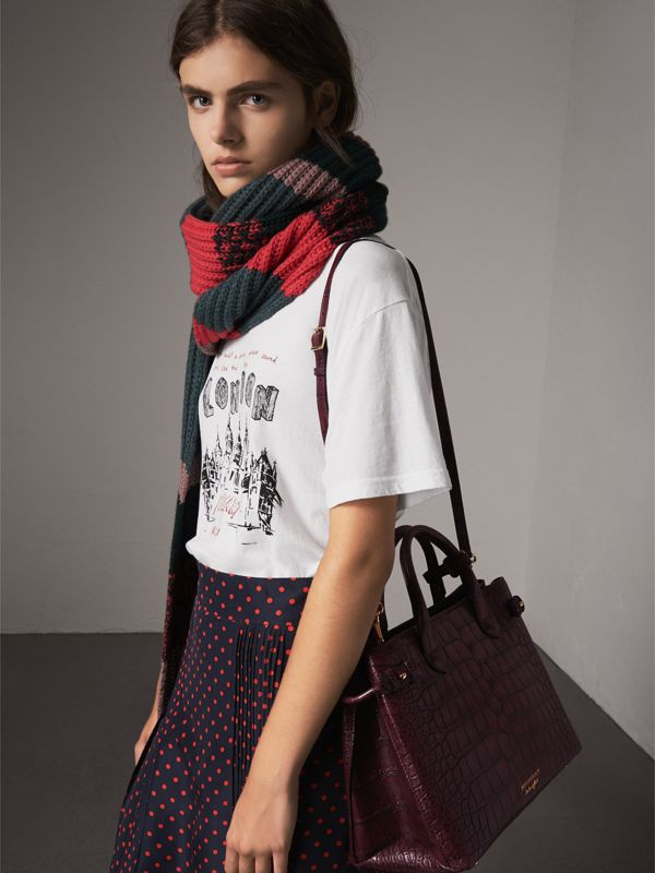 The Medium Banner in Alligator in Elderberry - Women | Burberry Canada - cell image 3