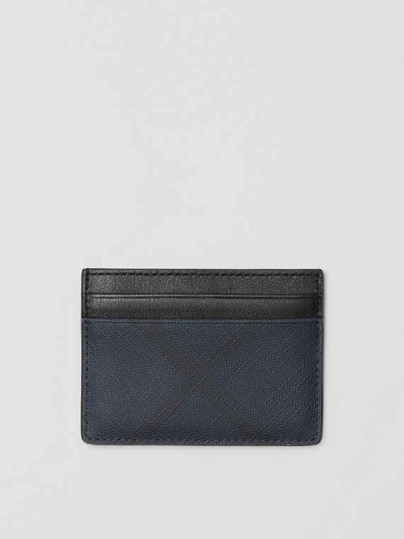 London Check and Leather Card Case in Navy/black