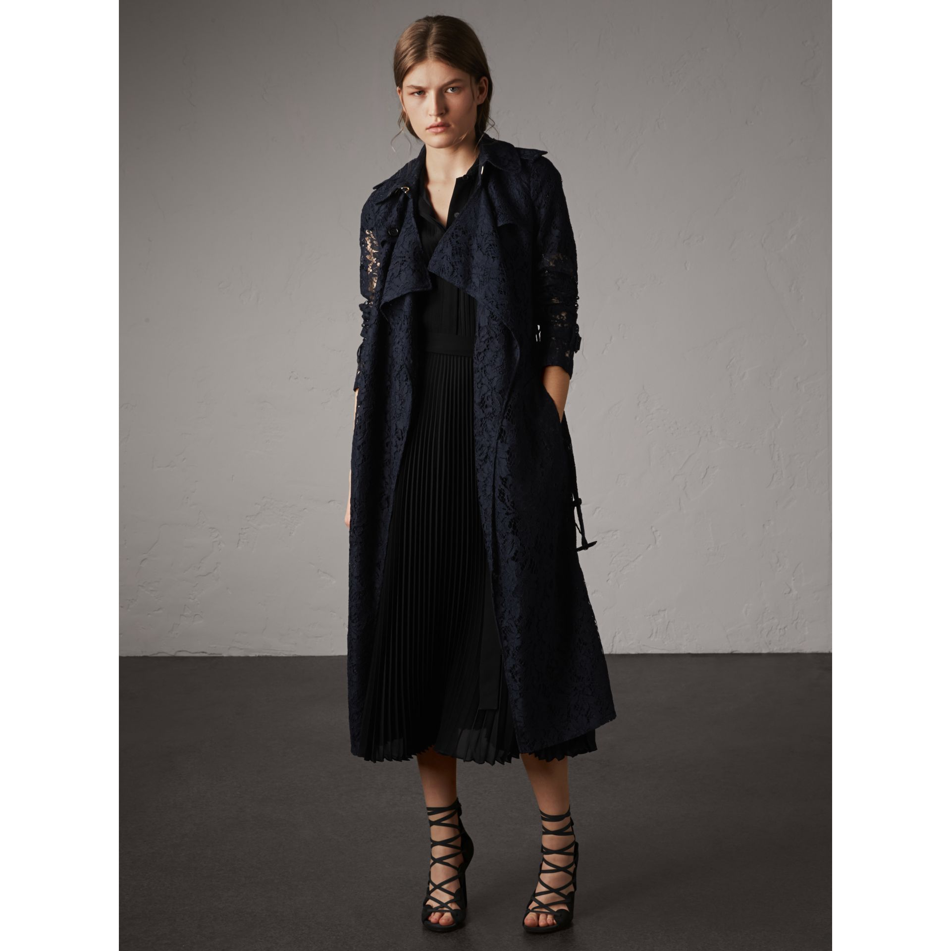 Macramé Lace Trench Coat in Navy - Women | Burberry - gallery image 6