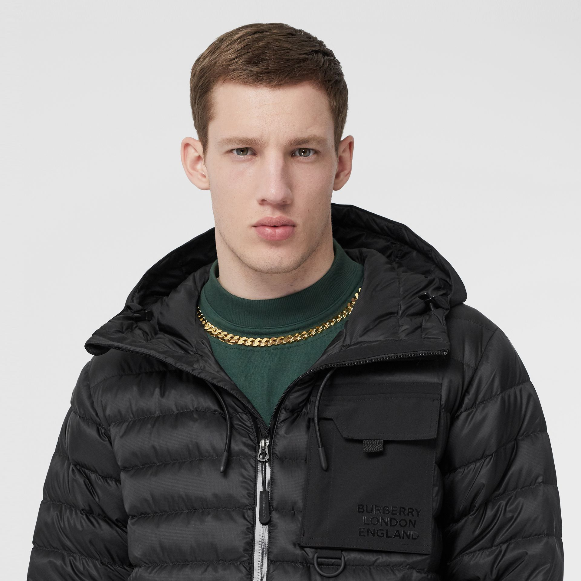 Down-filled Hooded Puffer Jacket in Black - Men | Burberry - gallery image 1