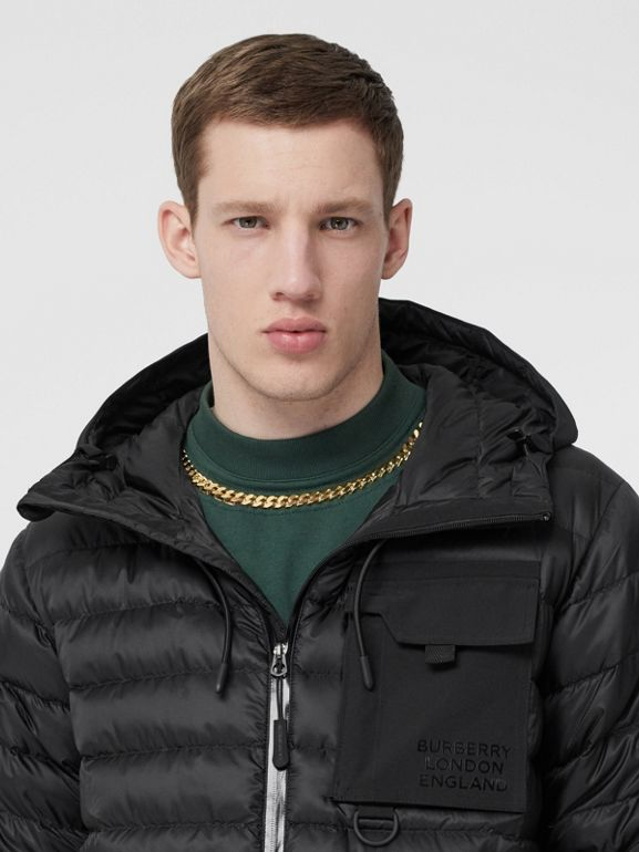 Down-filled Hooded Puffer Jacket in Black - Men | Burberry - cell image 1