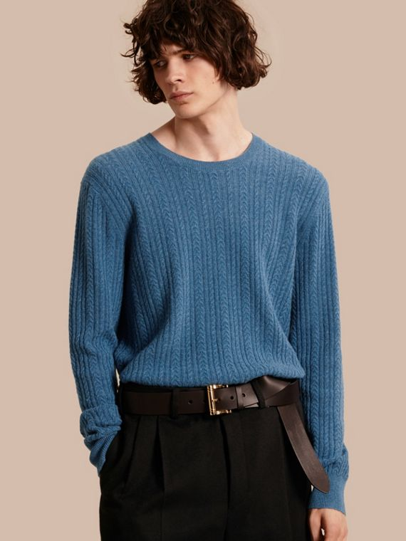 Aran Knit Cashmere Sweater in Hydrangea Blue